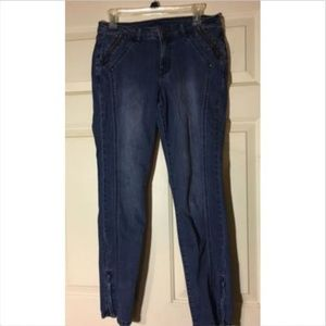 Cache Straight Leg Jeans with Ankle Zippers